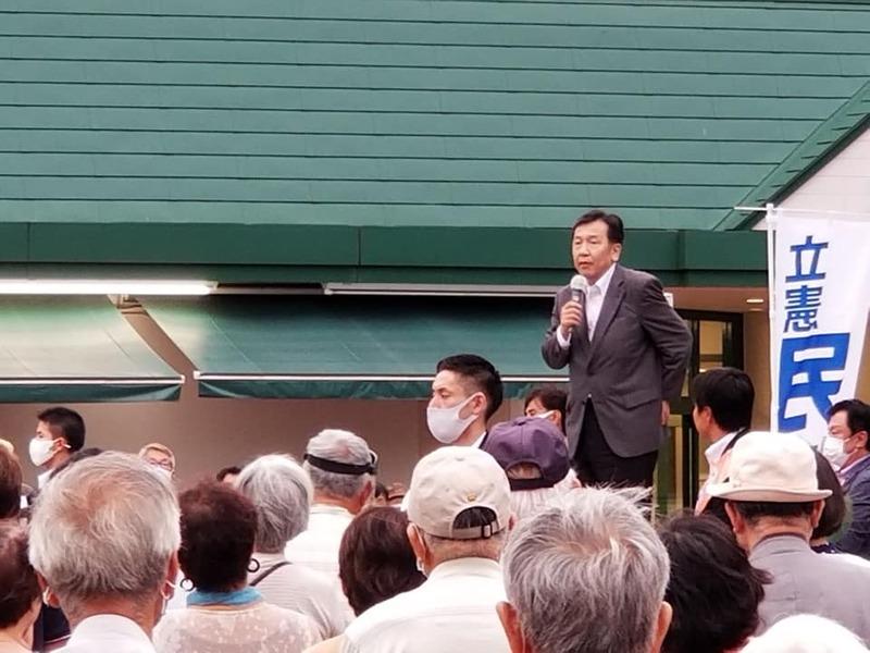 北柏に来たる、枝野幸男立憲民主党代表。