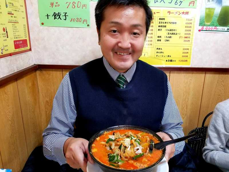 遅めのランチは、太郎ラーメンのスタミナ担々麺(大辛)🍜